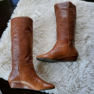 Steve Madden Shoes - Steve Madden Intyce Cognac Pull-On Flat Knee Boots